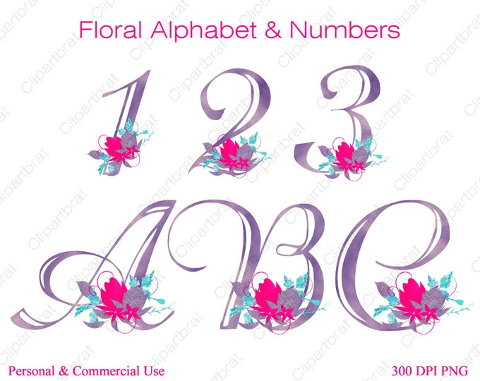 PINK & PURPLE ALPHABET Clipart Commercial Use Clipart Wedding Monogram Letters Hot Pink Watercolor Flower Alphabet Fancy Floral Numbers Font