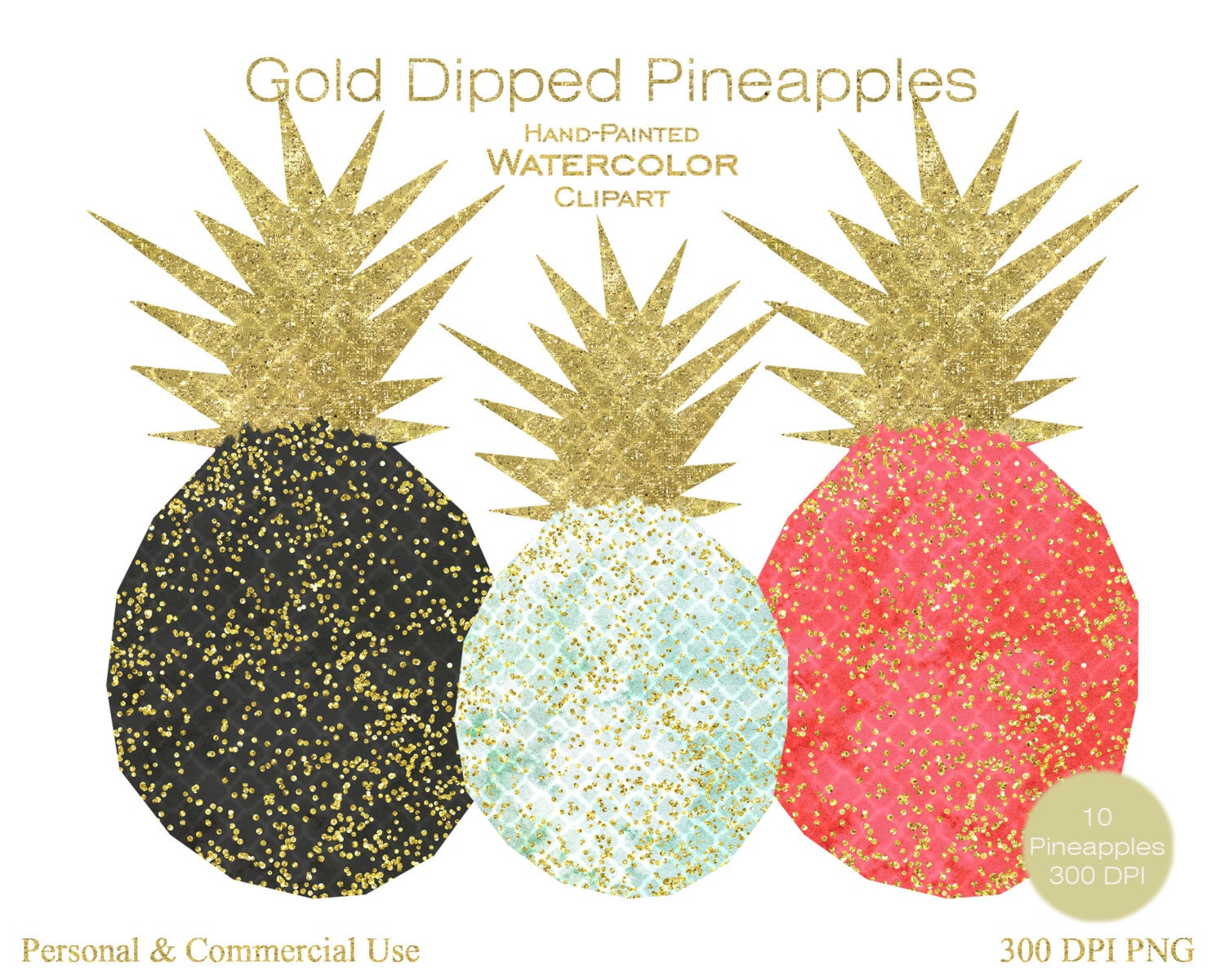 CONFETTI PINEAPPLES Clipart Commercial Use Clipart 10