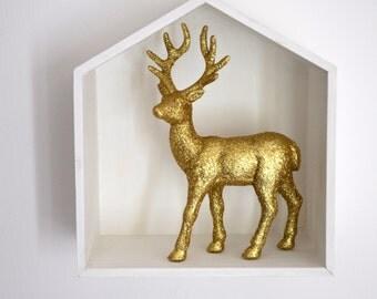 """Shadow box house """"oh deer"""" / Home Wall Shelf Display / House Shape Storage Box"""