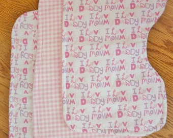 """Baby Girl """"I Love Mommy & Daddy"""" Burp Cloths- Set of 3"""