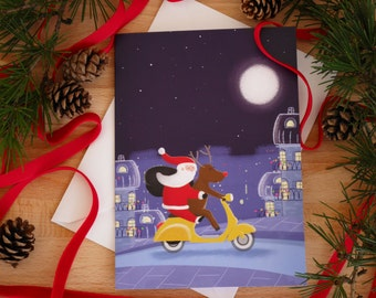 Santa Claus is coming to town - illustrated Christmas card