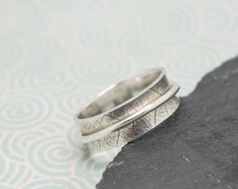 Silver  Spinner Ring with Natural Bohdi Leaf Imprint