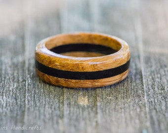Whiskey Barrel Ring with Ebony Inlay - Wood Ring Wooden Ring Mens Wedding Band Mens Wedding Ring Wood Anniversary Womens Wedding Ring