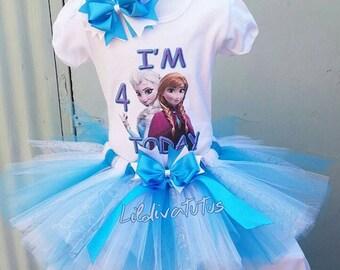Frozen tutu set / Frozen birthday shirt / Frozen birthday outfit / Frozen Elsa and Anna tutu set / Frozen Elsa and Anna birthday shirt