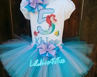 Handmade Ariel tutu set / The little mermaid tutu set / Ariel birthday shirt