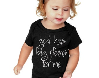 God Has Big Plans for Me made on adorable Onesies® brand Baby Shower Gift Bodysuit Christian Baby God Bodysuit Religious
