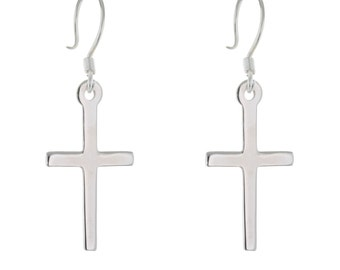 Thin Silver Cross Earrings, 925 Sterling Silver Earrings, Drop Cross Earrings, Delicate Silver Earrings, CROSS Earrings, Women Earrings