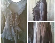 Black Gothic blouse, Stevie Nicks blouse, feminine gothic clothing, bell sleeves, sexy gothic blouse, Poet blouse, romantic blouse,