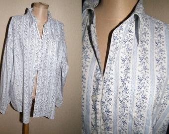Vintage White cotton shirt blue stripes flowers print long sleeves Hippie Boho size L