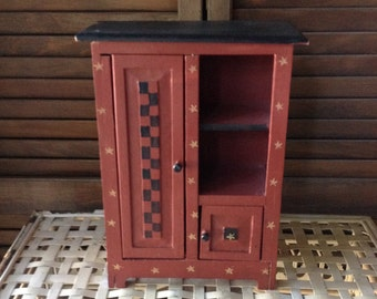 Chippy Checkerboard Wooden Cabinet Jewel Box Shabby Home Decor FREE SHIPPING