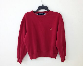 90s Tommy Hilfiger Sweatshirt Red with Embroidered Logo Small