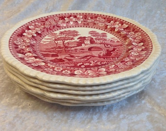 """Set of six (6) Copeland Spode Tower Pink 9 3/8"""" Luncheon Plates Old Mark"""