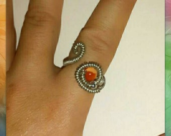 Orange and silver adjustable ring