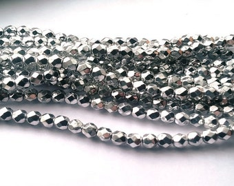 50 4mm Silver, Czech Fire Polish glass faceted round, 27000