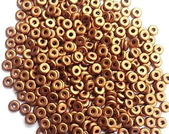 Matte Metallic Antique Gold O Bead 3.8 X 1MM, Czech Glass K0174, 5 grams