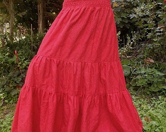 full length  full length skirt  maxi skirt maxi  long skirt hippie skirt,long,cotton skirt, red,ruffled, S,M,L frilly skirt holiday,Casual,