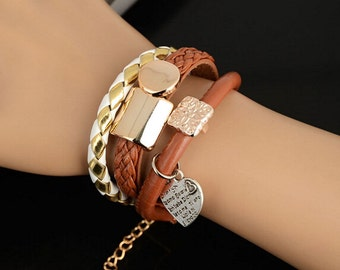 Fashion Bracelet Jewelry Leather Infinity Charm Cuff Bangle Wrap Womens Gift