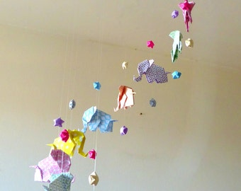 """Mobile baby origami elephant """"Pastels Zen"""" and stars"""