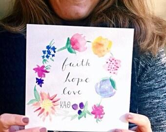 Kappa Alpha Theta Flower Watercolor Print
