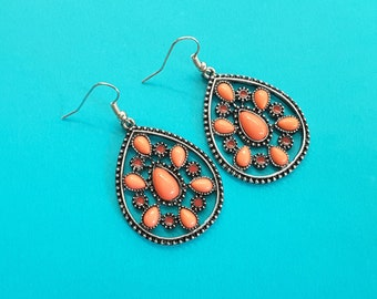 Antique Silver Teardrops with Coral Accents . Earrings