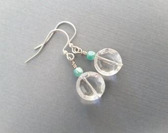 Clear Glass Discs and Aqua Beads Drops . Earrings