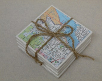 Map Coasters, Wisconsin Tile Coaster, Wisconsin Map Coasters, WI Coasters, map coaster set, Map Wisconsin coasters, coasters, map coasters