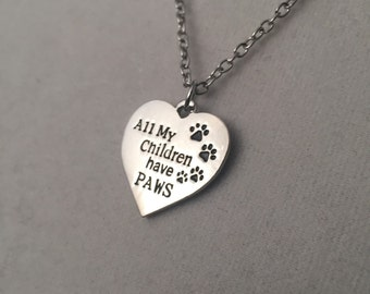 All my children have paws silver necklace