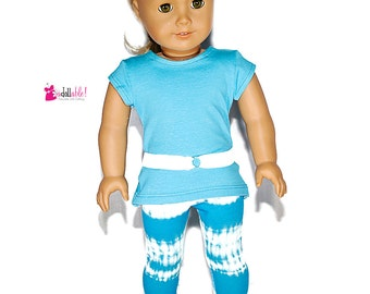 American made Girl Doll Clothes, 18 inch Girl Doll Clothing, Turquoise Top, Turq Tie-Dye Capris made to fit like American girl doll clothes