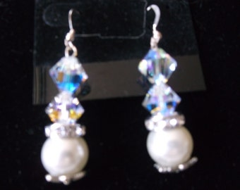 Swarovski Clear Crystal & Pearl Earrings