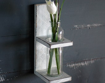 Rustic, Wall Flower Holder, Wall Flower Decor, Wall Flower Vase, Bathroom Decor, Bathroom Wall Decor, White Rustic Finish