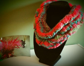 Hot Pink, Turquoise, Green, and Purple Hand Knit Cowl