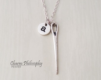 Sewing Needle Necklace - Seamstress Jewelry - Personalized Monogram Initial Necklace