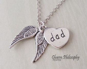 Dad Angel Wings Necklace - Dad Memorial Jewelry - In Memory Of Necklace - Antique Silver Jewelry