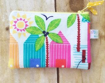 Coin purse /coin pouch/ small zipper pouch/ palm trees/ beach theme