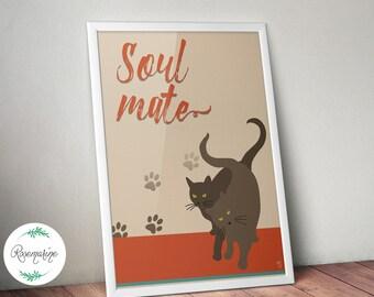 Cat Print, Pet print, Black cat, Wall art prints, Art Print, Wall Art, Wall Hanging, Wall Decor