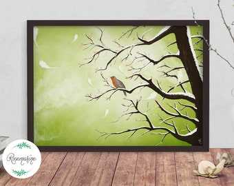 Bird A3 poster, Home Decor, Wall art prints, Green Poster, Animal illustration print, Painting, Animal nursery print, Wildlife art