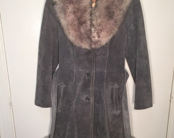 Vintage Lantry Leather Jacket with Fur Trim //Free Shipping