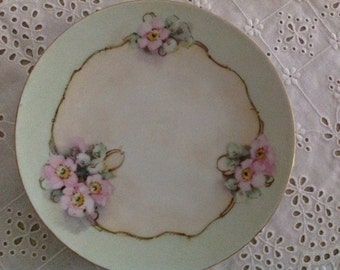 Hand-painted Old Shabby Chic Plate made by J & C Jaeger Bavaria