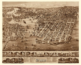 Saint John, New Brunswick, Canada in 1882.  Vintage restoration hardware home Deco Style old wall reproduction map print.