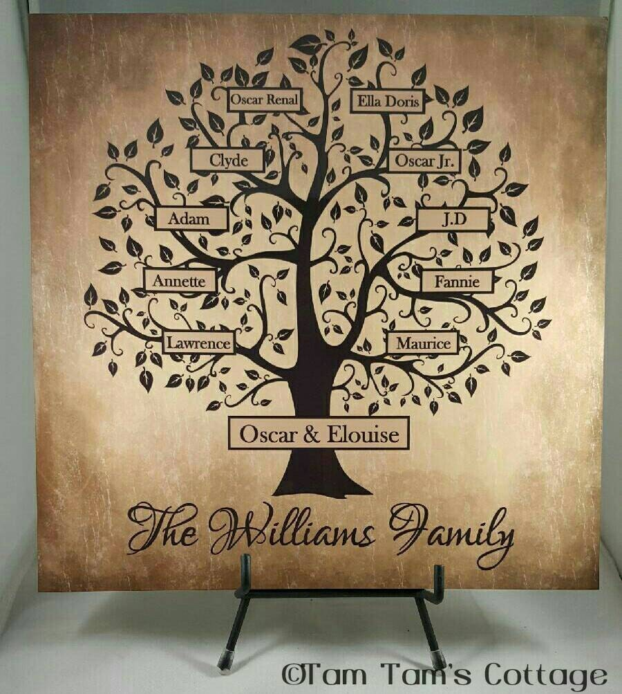 Custom Family Tree Sign Family Tree Tile Personalized