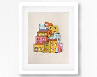 Pastel Homes Cityscape Screenprint