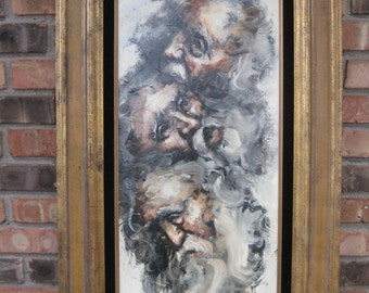 Signed Frederick Kirsch (1899-1981) Original Oil Painting Old Man / Kirsch Oil Painting of Man from 3 Angles / Oil Painting Triple View