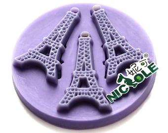 3-Cavity Eiffel Polymer Clay Mold Fondant Molds Chocolate Mold Flexible Silicone Handmade Fimo Resin Baking Tools F0647