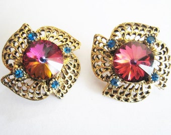Gold Tone Clip Earrings w/ Rhinestones