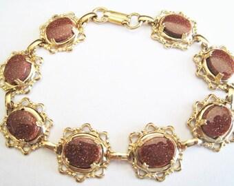 Gold Tone Sand Stone Bracelet