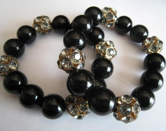 Two Black Glass and Rhinestone Beads Accents Bracelets