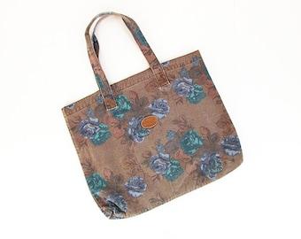 Vintage 80s Tote Bag -- Floral Canvas Tote -- Gitano -- Rose Print -- Brown Book Bag with Flowers -- Large Canvas Shoulder Bag