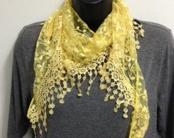 Bright Yellow Lace Scarf with Fringe Shawl Scarf Long Scarf Women Fashion Accessories Gift for Her