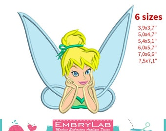Applique Tinker Bell. Peter Pan. Machine Embroidery Applique Design. Instant Digital Download (16268)