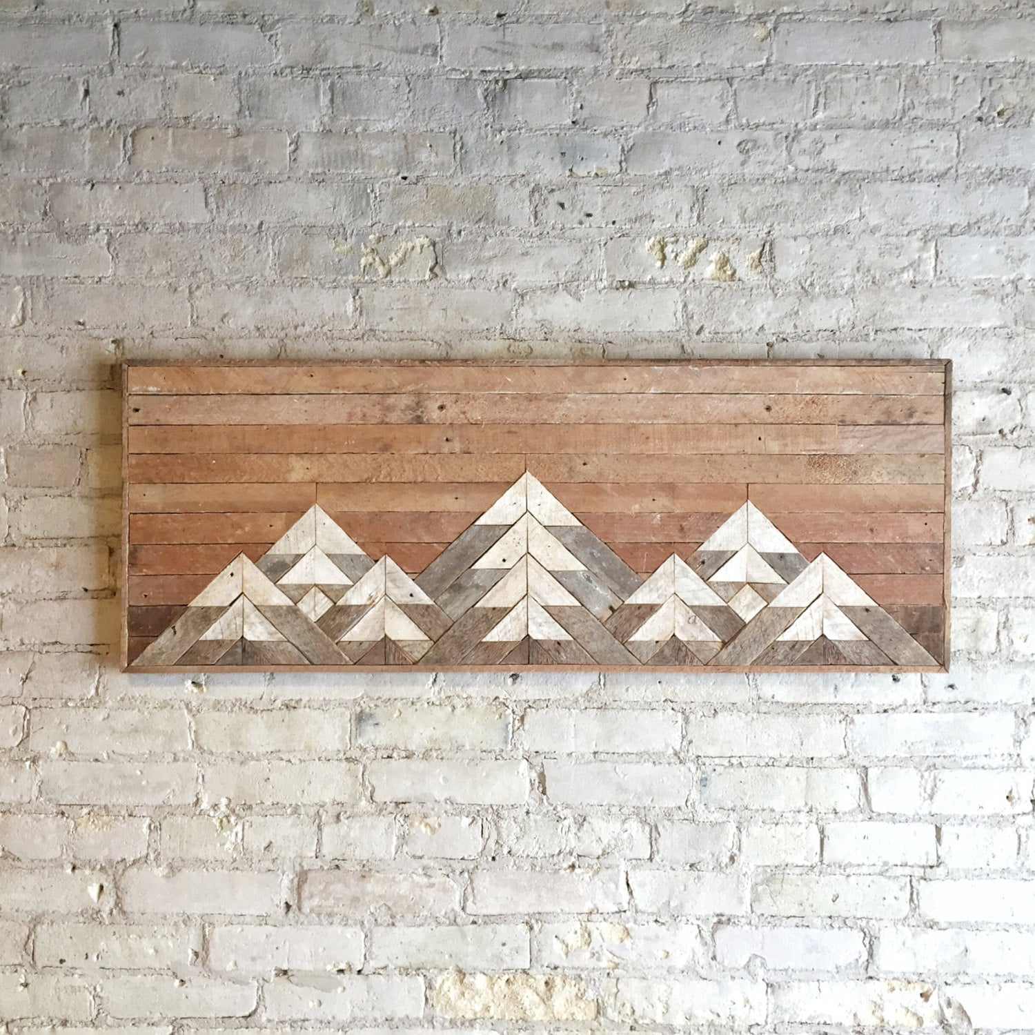reclaimed wood wall art wall decor twin headboard lath geometric mountains gradient. Black Bedroom Furniture Sets. Home Design Ideas